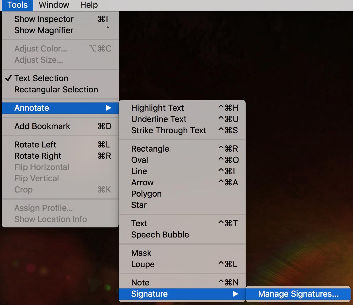 mac os x preview pdf tools menu menus