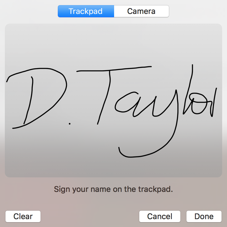 my signature from apple mac trackpad preview