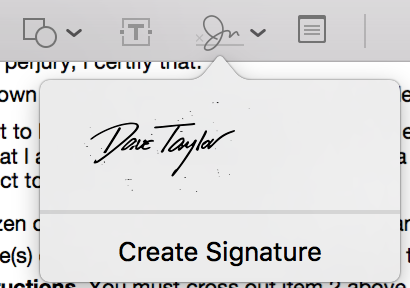 scanned signature, preview menu