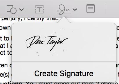 scanned signature, preview menu