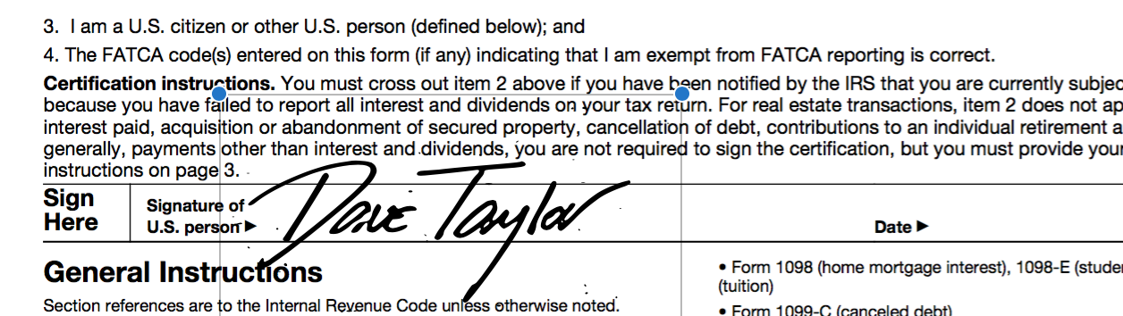 IRS document signed digitally with Preview on the Mac PDF