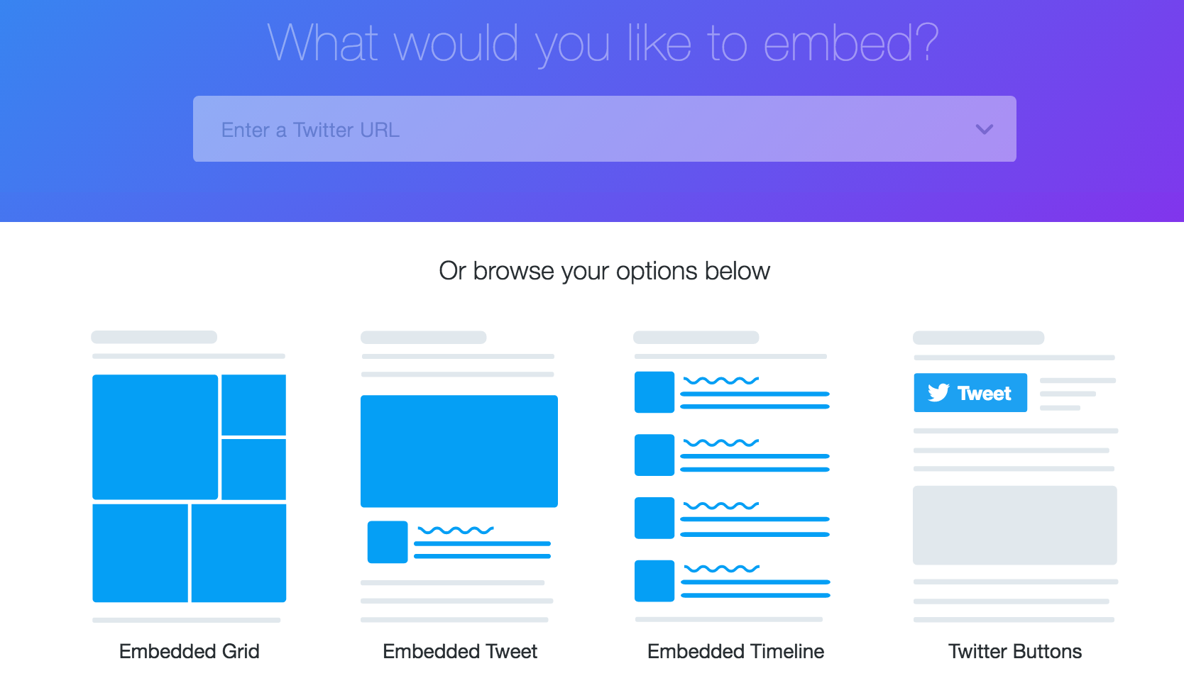 publish.twitter.com button and embed code builder