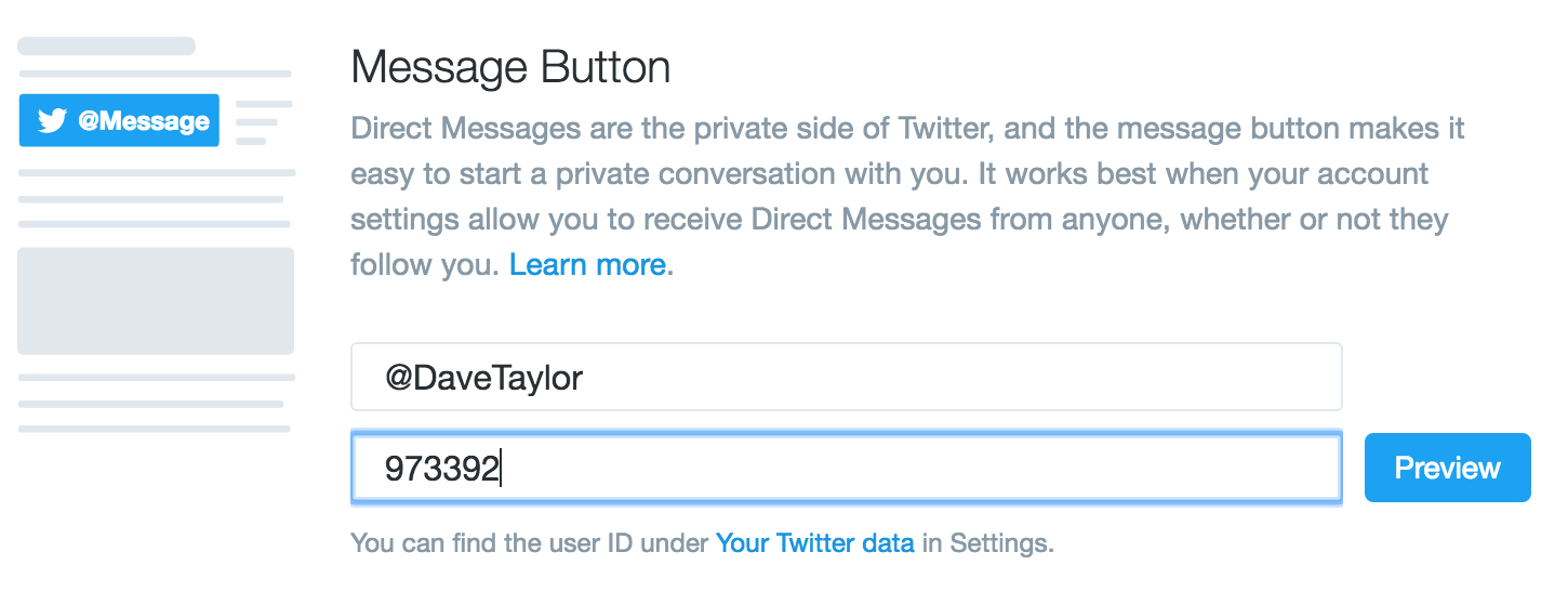 twitter message me button form