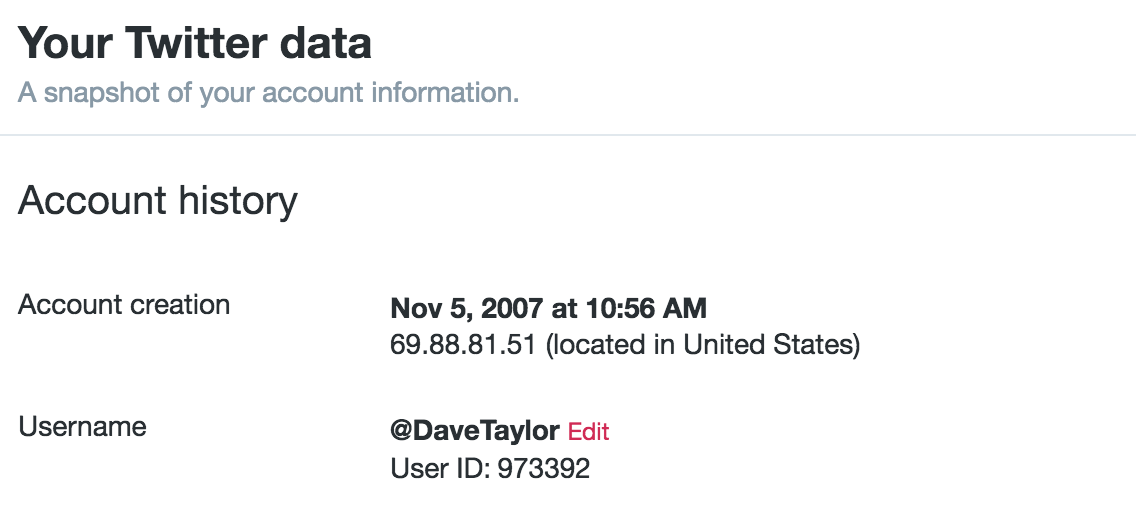 your twitter data, signup date, user id