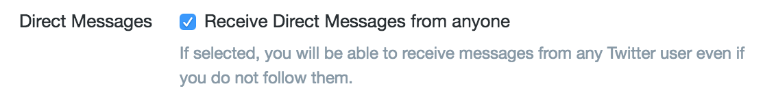 allow direct messages from non-followers setting, twitter