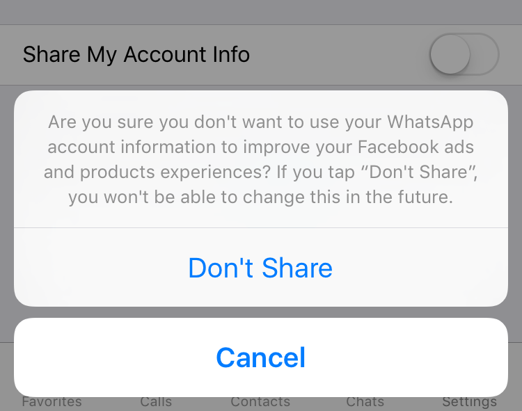 are you sure you don't want to share whatsapp info with facebook?