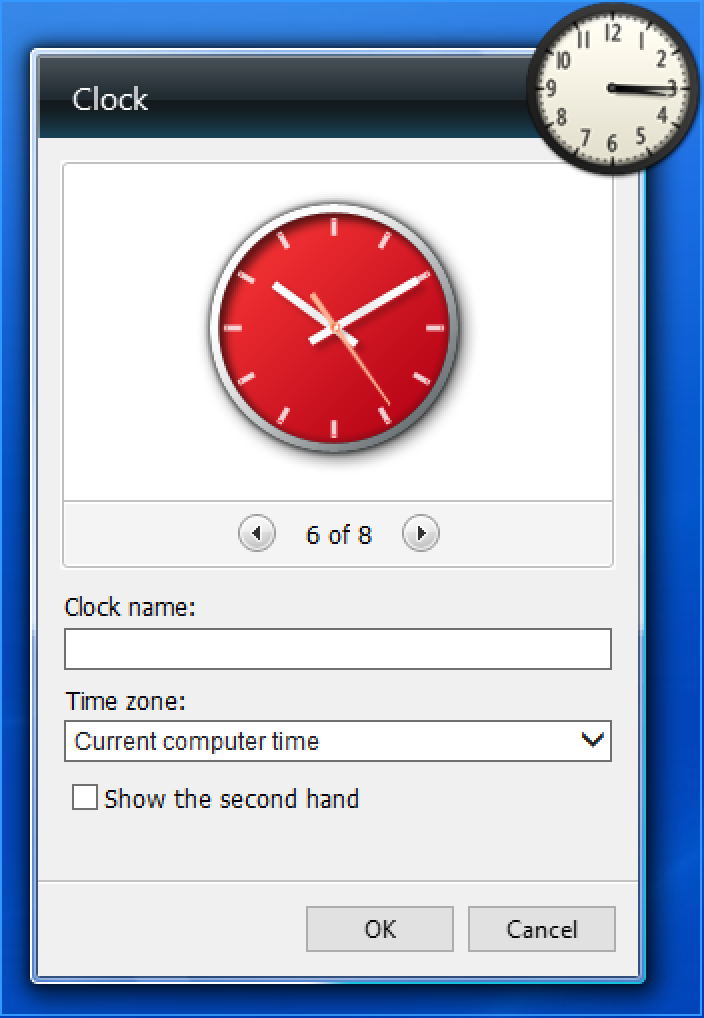 clock gadget display, 8 clock faces, ms windows win10 win8