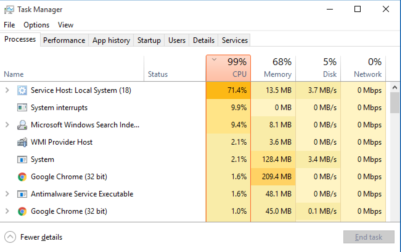 win10 task manager, running task view