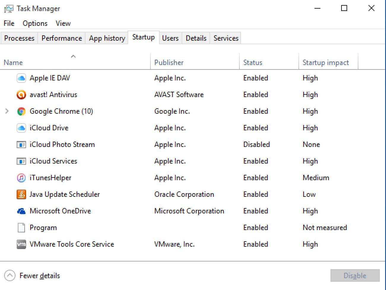 windows task manager startup programs apps utilities