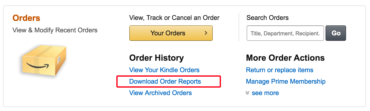 download purchase history, amazon.com