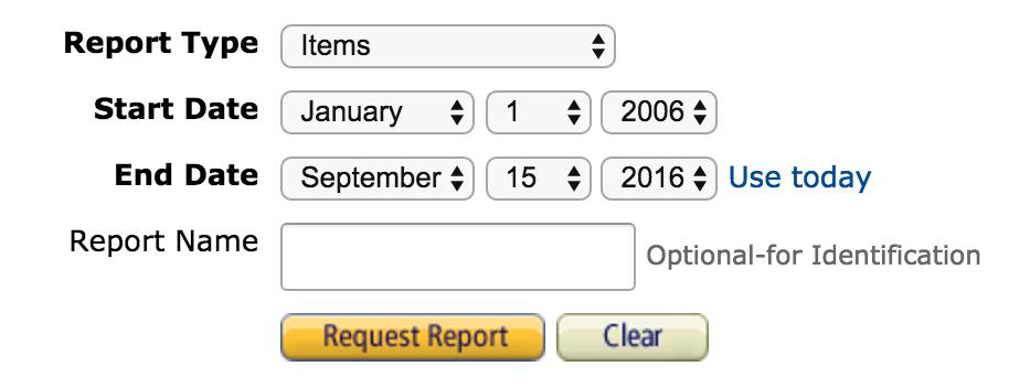 requesting amazon transaction report, date range closeup