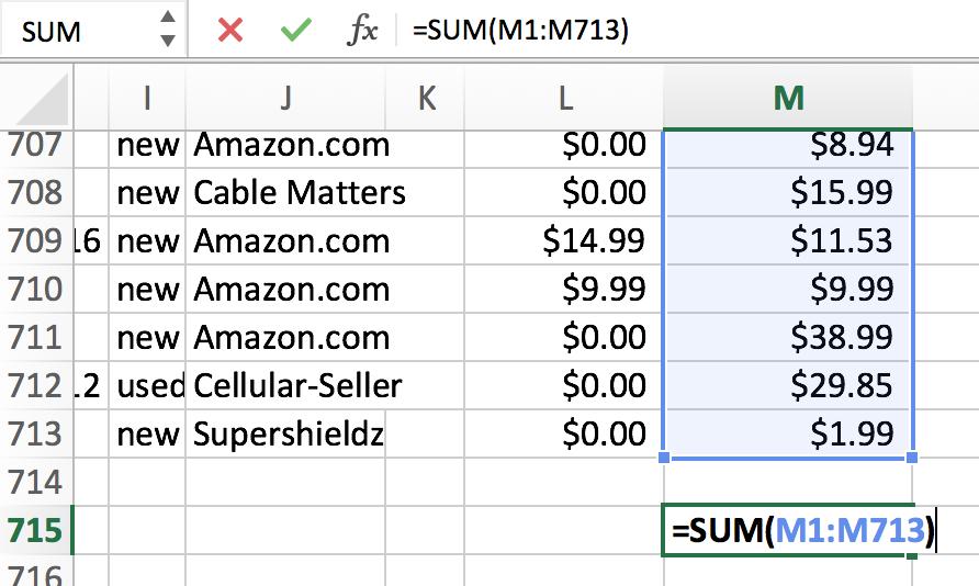 spreadsheet sum formula all amazon.com transactions