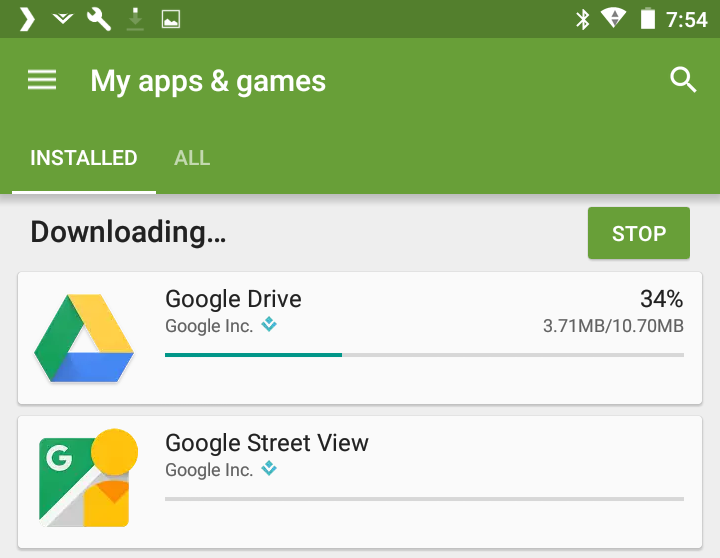 downloading android app update