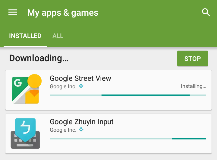 installing android app update