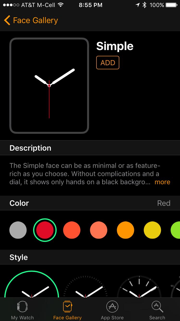 add simple watchface apple watch