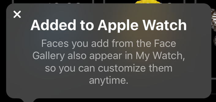 added watch face to apple watch