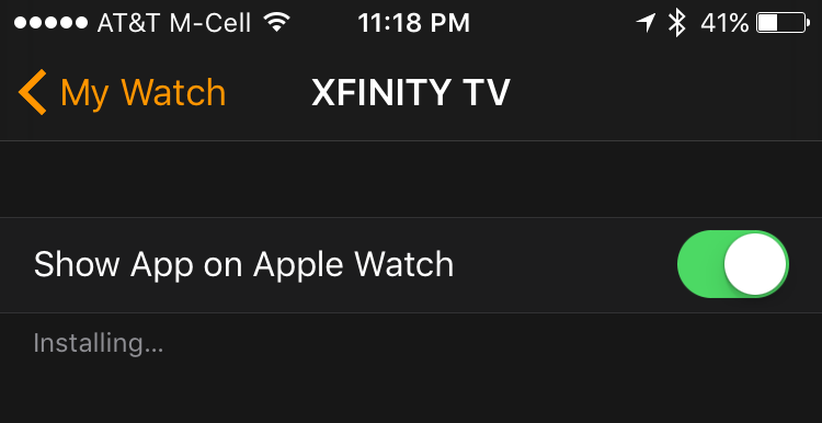installing app on apple watch from iphone