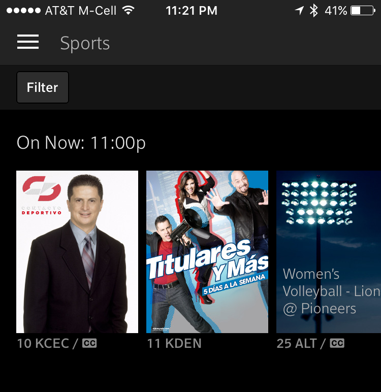 signed in to xfinity tv app on iphone