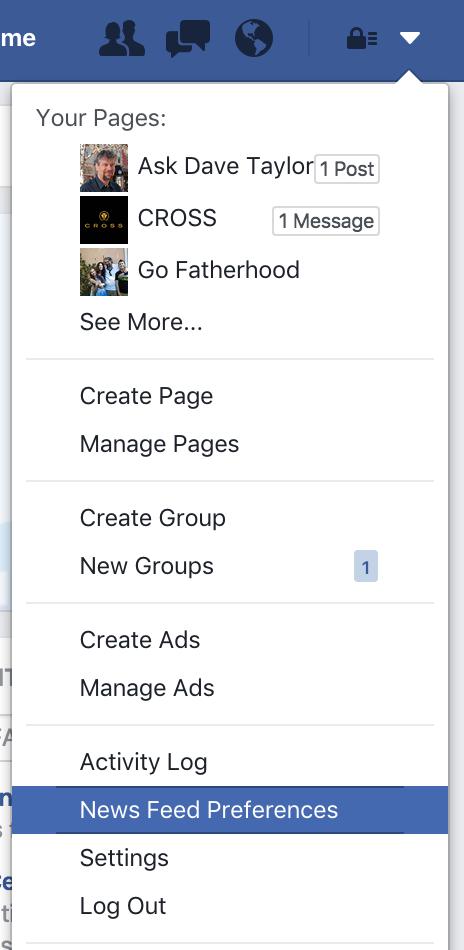 facebook main menu