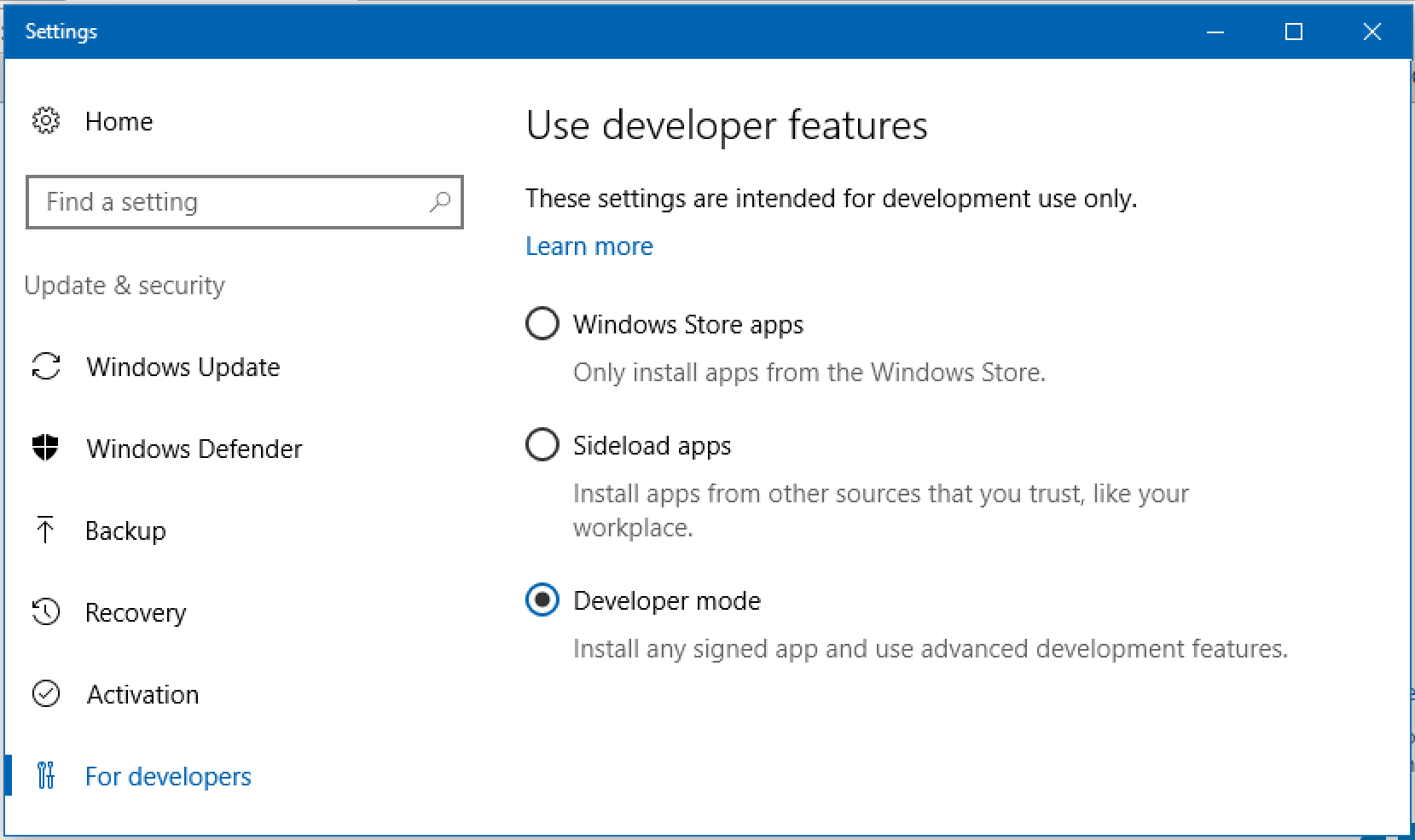 enable developer mode, win10