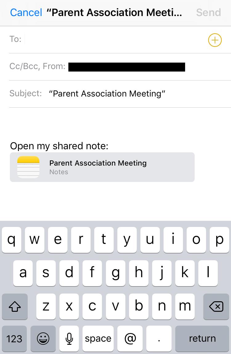 share ios 10 ipad iphone note via imessage sms txt message