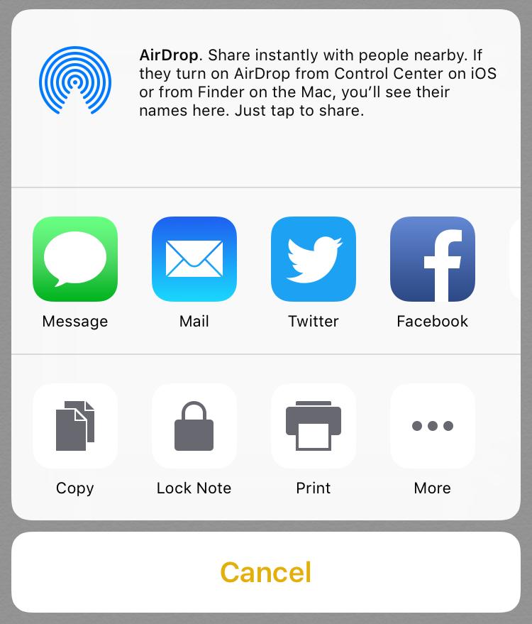 share snapshot on social media apple notes app ios 10 ios10
