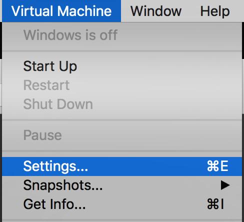 VMware Fusion > Virtual Machine > Settings