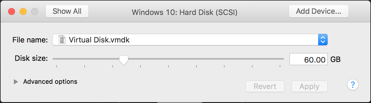 vmware fusion virtual machine disk drive size