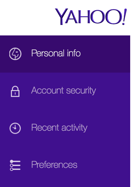 yahoo.com account settings options menu choices