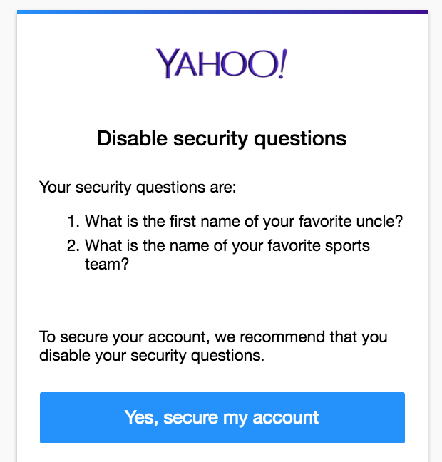 yahoo disable security questions