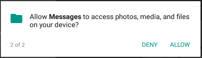 allow messages to access your photos? android app