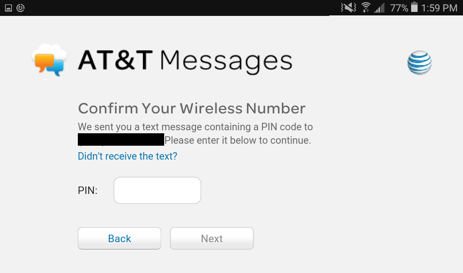 confirm at&t messages login