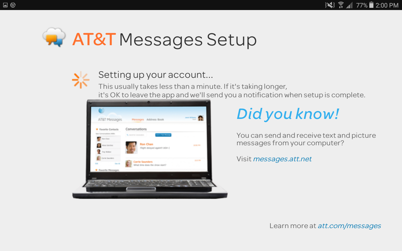 at&t messages setup, android app