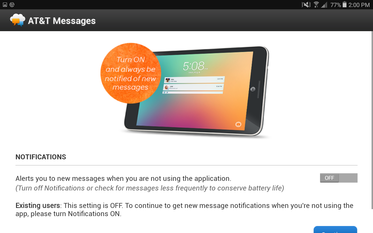 setting up at&t messages on android tablet