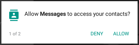 allow messages to access your contacts? android