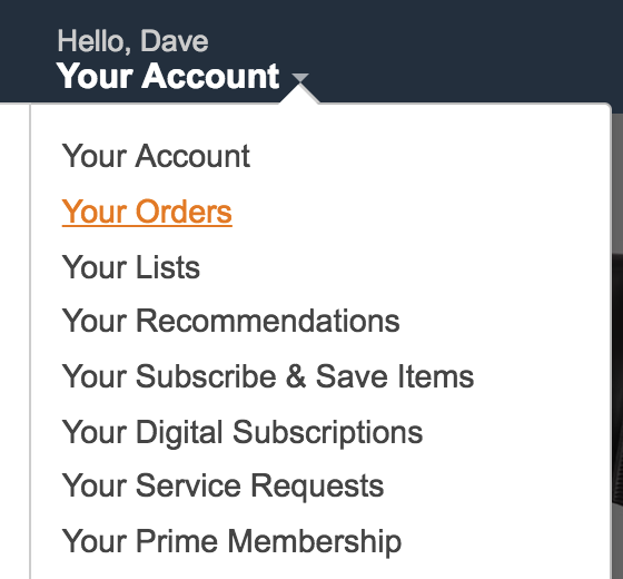 amazon your account menu