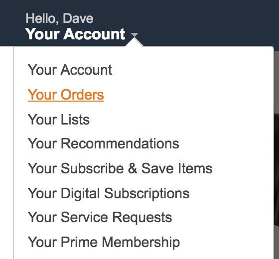 amazon your account menu