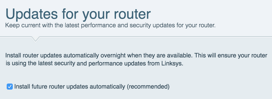 automatically install updates for your linksys router