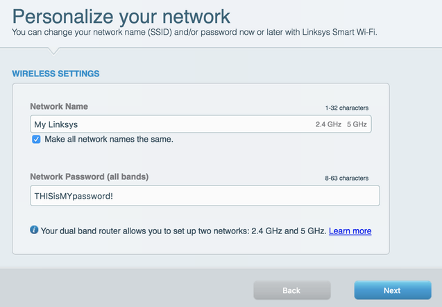 personalize your linksys router network