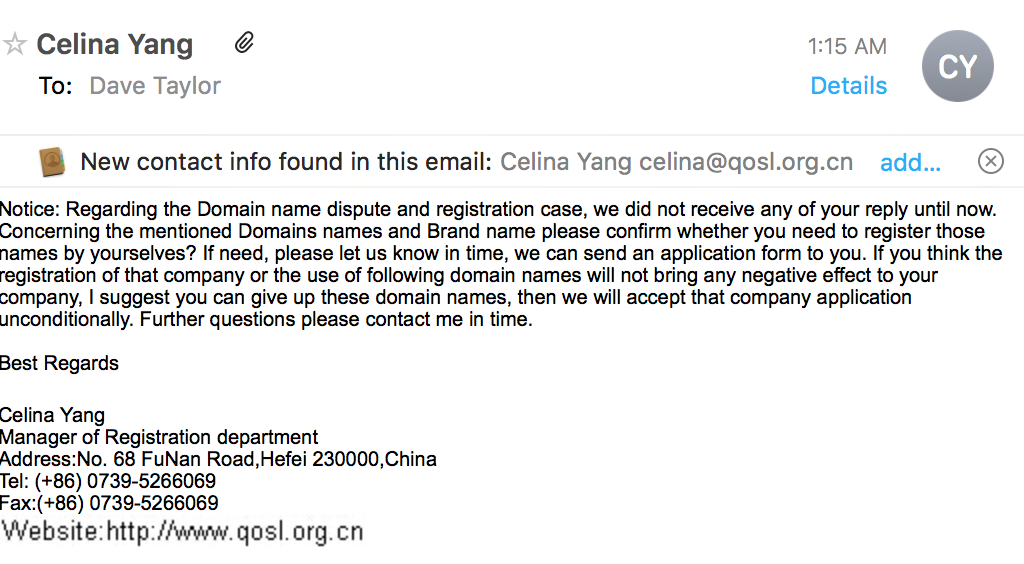 china domain name registrar registration scam