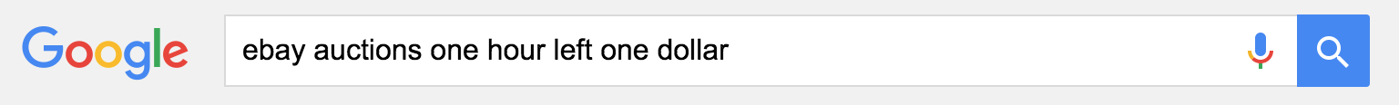 google search ebay auctions one dollar