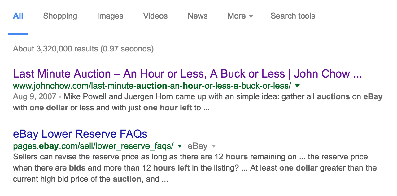google search results, ebay site listing ending soon auctions