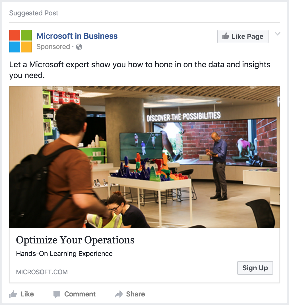 microsoft ad on facebook