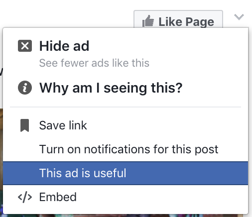 facebook ad pop-up menu