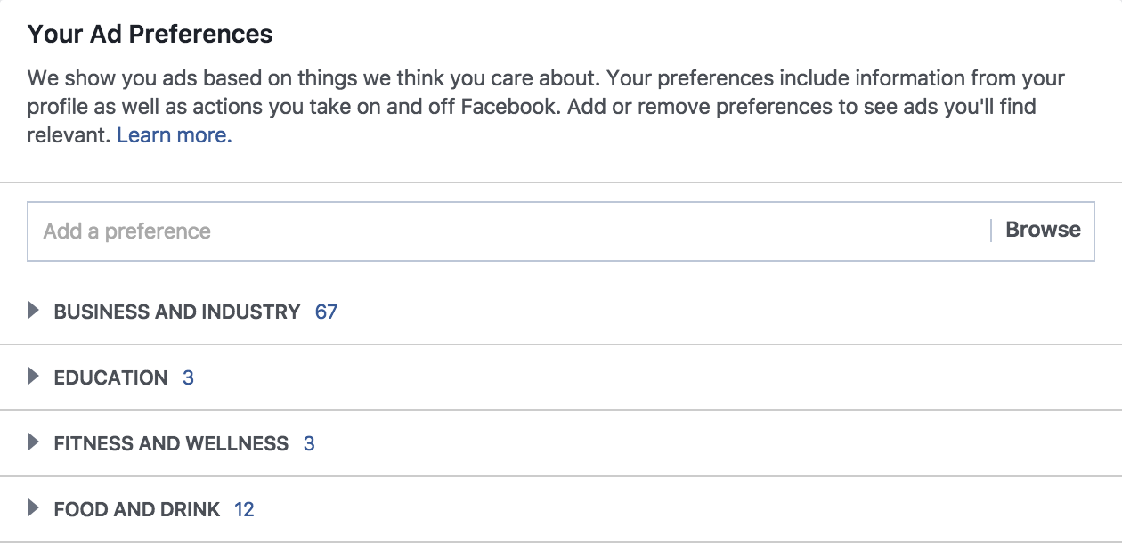 Where do Facebook ad preferences come from?