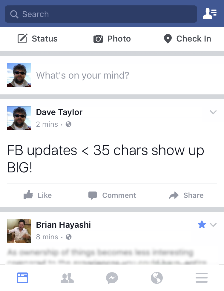 big type font status update facebook fb iphone mobile ios