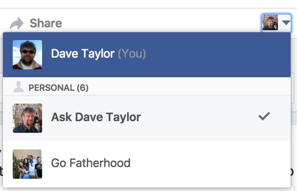 menu of facebook identities