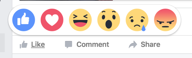 facebook post like with emoji