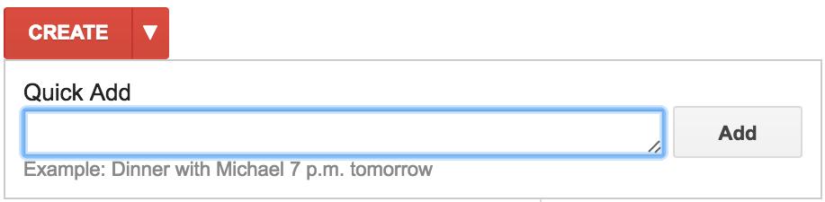 create new event, google calendar