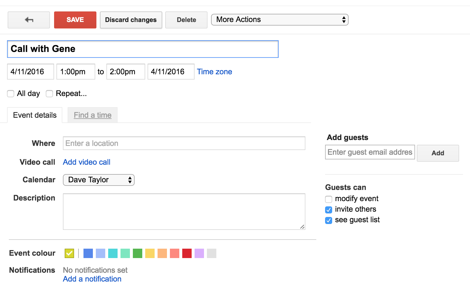 google calendar detailed event view